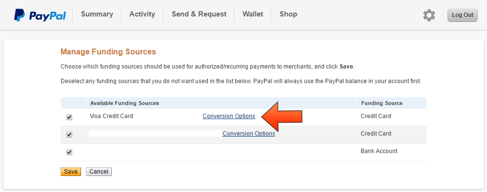 Paypal Currency Conversion Option - Step 5