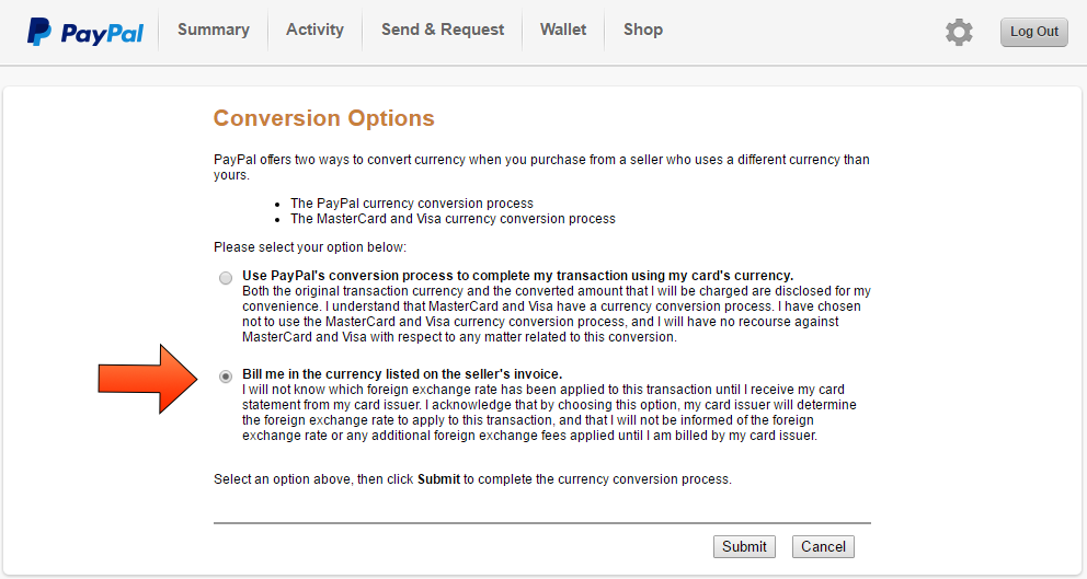 Paypal Currency Conversion Option - Step 6
